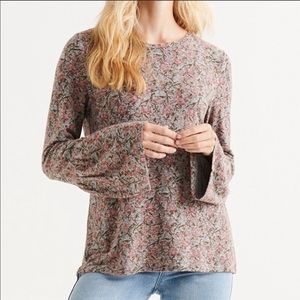 Lucky Brand Hacci knit bell sleeve top